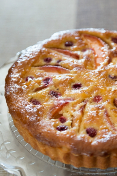 Nectarine and Raspberry Frangipane Tart